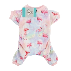 CuteBone Dog Pajamas Flamingo Print Dog Apparel Dog Jumpsuit Pet Clothes Pajamas P44